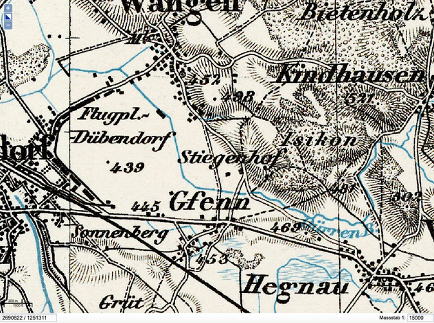Dufourkarte Letztausgabe 1938   Quelle: GIS ZH