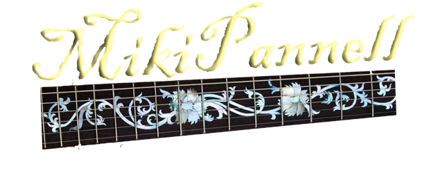 Miki Pannell Logo. Guitar neck fretboard with inlays