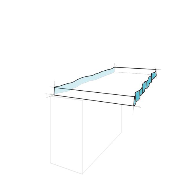 Tresenplatte Naturkante abfallend