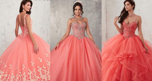 vestido quinceañera en color coral