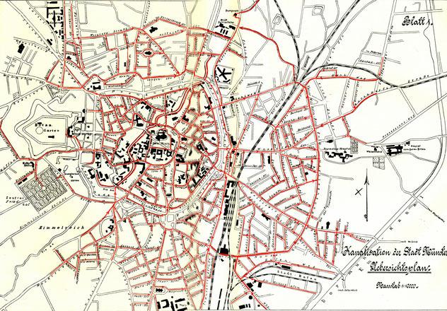 1910: Die meisten Straßen sind an die Kanalisation angeschlossen.