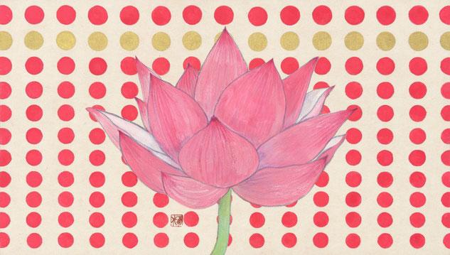 「lotus and dot」  日本画 M4号
