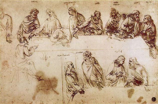 レオナルドのノートに描かれた《最後の晩餐》の習作。ユダはこれまでの描かれ方同様テーブルの反対側に背を向けて座っている。