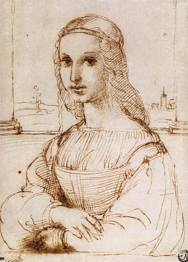 ラファエルによるスケッチ画(1505年頃)。両端に大きな円柱が描かれており、《モナ・リザ》のもう1つのバージョンを基盤にしたものとみなされている。