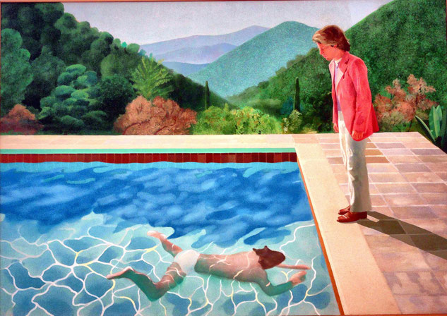 《芸術家の肖像 -プールと2人の人物-》1972年