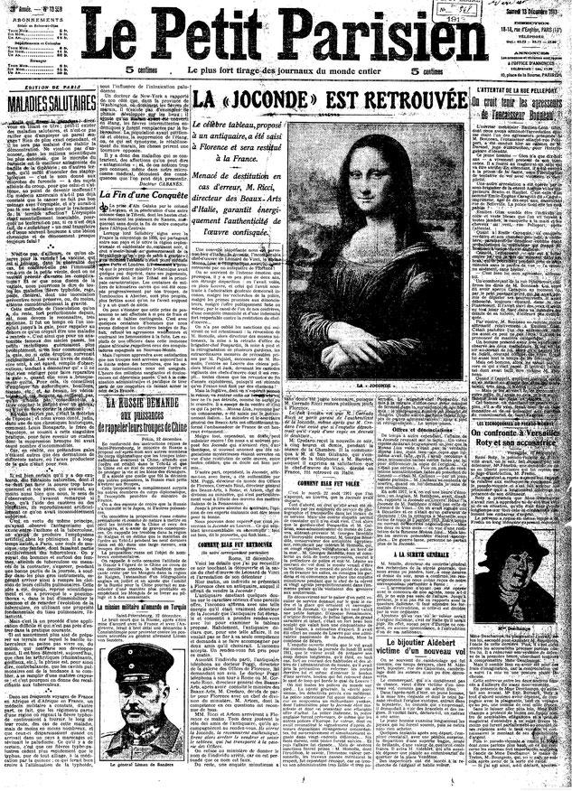 1913年12月13日、《モナ・リザ》が発見されたときの新聞記事。
