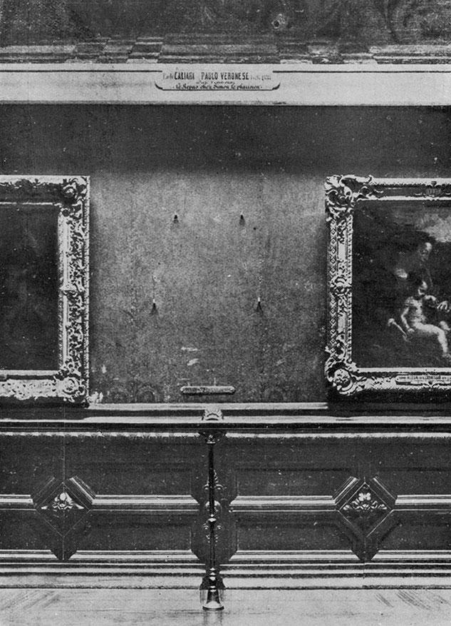 1911年の盗難事件時、ルーブル美術館の《モナ・リザ》が架けられていた壁。