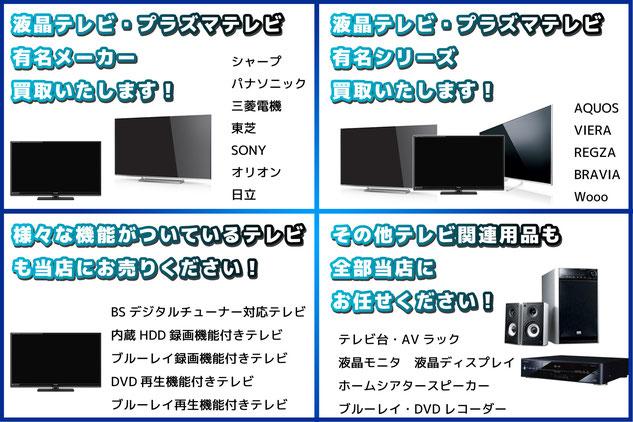 札幌市中央区リサイクルショップ「プラクラ」のテレビお取り扱い一覧です。