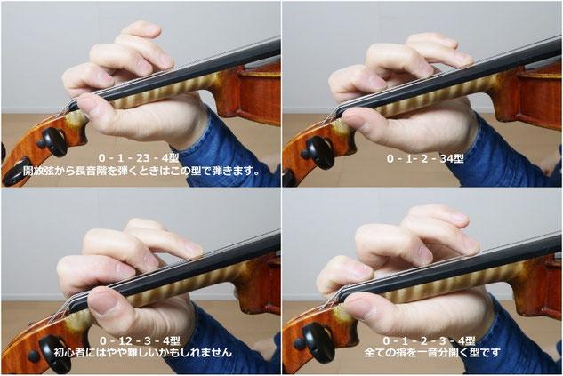 バイオリン 左手 指の型