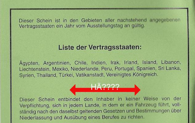 Liste der Vertragsstaaten Insternationalewr Führerschein