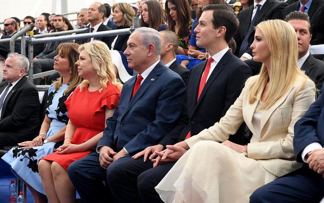 インカ、クシュナー、イスラエルのベンジャミン・ネタニヤフ首相がエルサレムの駐イスラエル米国大使館の開会式に出席。2018年5月14日