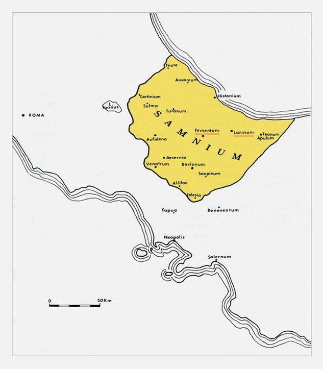 provincia Samnii intorno al 346 d.C.