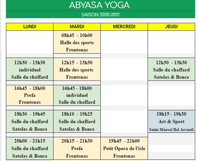 Séances individuelles ; Lundi 12h30, Mardi 16h45 et Jeudi 19H45