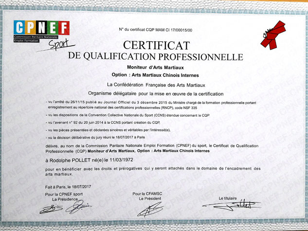 certificat de qualification professionnelle - tai chi