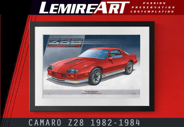 Early 3rd generation Flame Red Camaro Z28 limited edition print