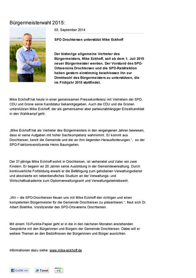 Homepage SPD-Ortsverein Drochtersen vom 03. September 2014