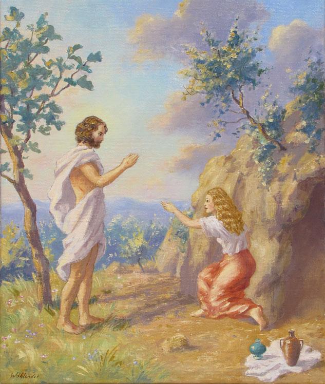 Tony Wahlander (Wåhlander) La découverte de Jésus ressuscité, Évangile selon Saint Jean chapitre 20, verset 11-17, Nouveau Testament