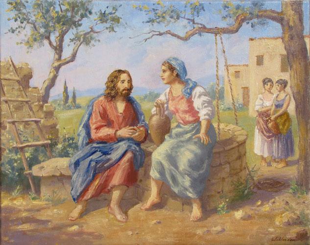 Tony Wahlander (Wåhlander) Jésus et la Samaritaine,Évangile selon Saint Jean chapitre 4, Nouveau Testament