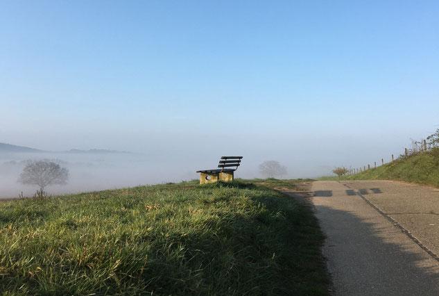 Eine Bank auf einer Wiese in einer hügeligen Landschaft am Morgen. Es hat strahlend blauen Himmel, aber Frühnebel im Tal.
