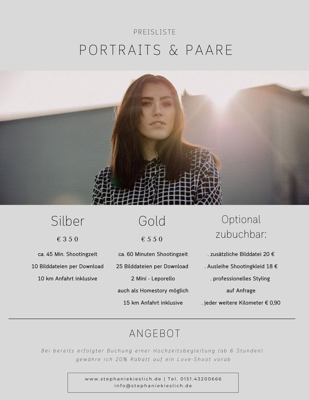 Preisliste Portraits und Familienfotografie Mainz