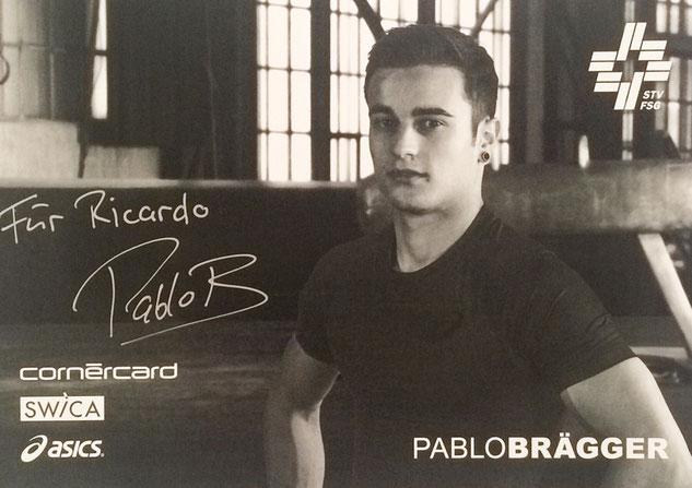 official signed Autographcard Pablo Brägger Switzerland, Gymnastics, twice bronze medal European Championship, Autograph by Mail