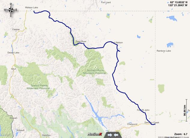 gefahrene Route durch British Columbia