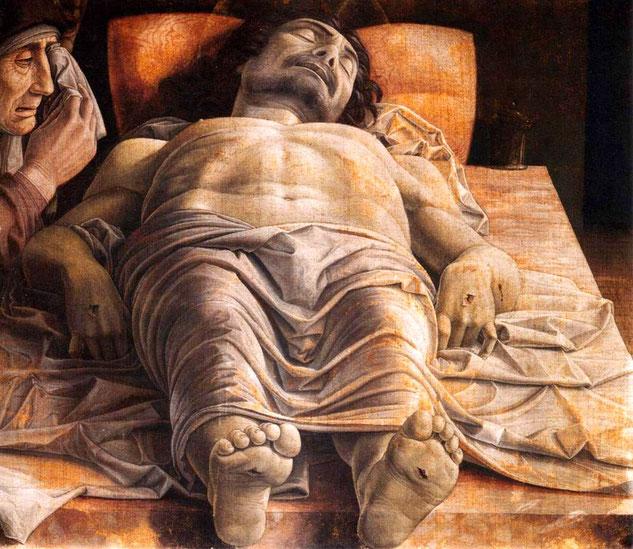 """Andrea Mantegna, """"Cristo morto"""", particolare, 1475-1478 circa (Milano, Pinacoteca di Brera)"""