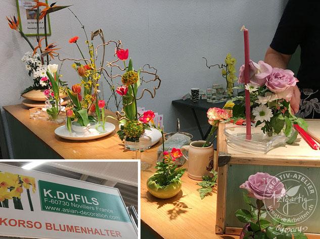 Korso - ein wirklich intelligenter Blumenhalter wird hier mit frischen Schnittblumen präsentiert