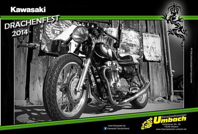 Fotoaktion Neueröffnung Zweiradcenter Umbach beim Drachenfest Kawasaki 2014