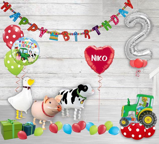 Luftballon Ballon Heliumballon Paket Geburtstag Bauernhof Tiere Farm Farmtiere Party Kindergeburtstag Junge Mädchen mit Zahl Traktor Tier Gans Ente Schwein Kuh Happy Birthday personalisiert Personalisierung Girlande Torte Geschenk  Deko Dekoration