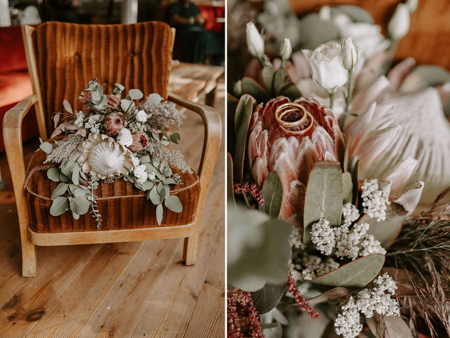Boho-Brautstrauß mit Farbtönen in Rost