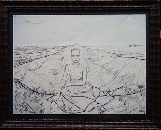 Jan Toorop  kunstenaar, tekening meisje te koop, Domburg
