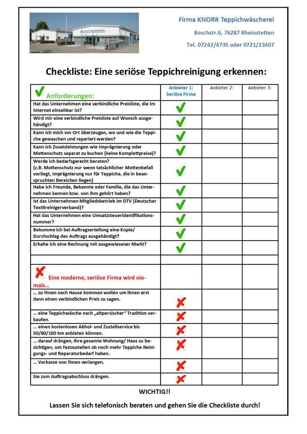 seriöse Teppichreinigung erkennen Checkliste