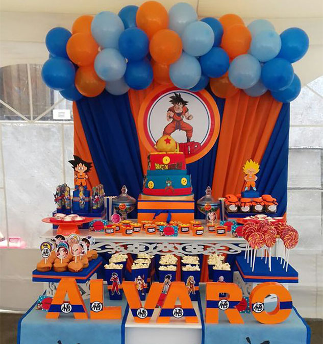 mesa de dulces dragon ball