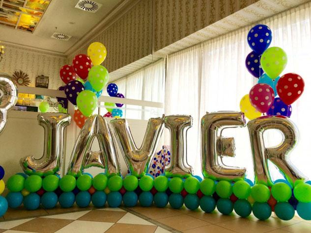 decoracion con globos de letras