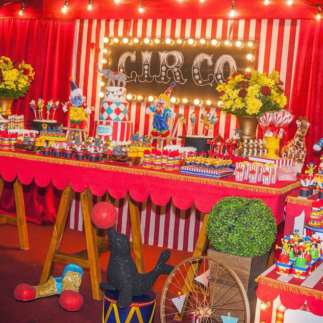 mesa de dulces fiesta circo