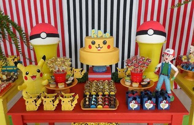 mesa de dulces fiesta pikachu