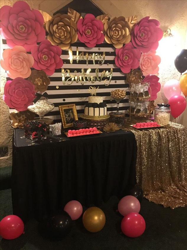mesa de dulces cumpleaños de mujer