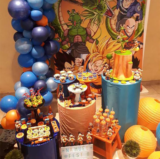 mesa de postres dragon ball