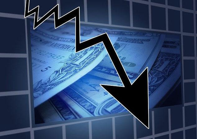 Geldscheine, Dollar, Pfeil runter