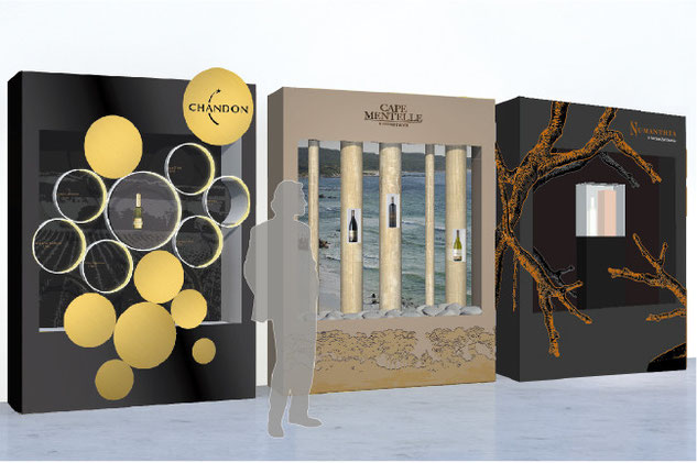 conception creation, set design decor scénographie, retail, vitrine luxe vins spiritueux