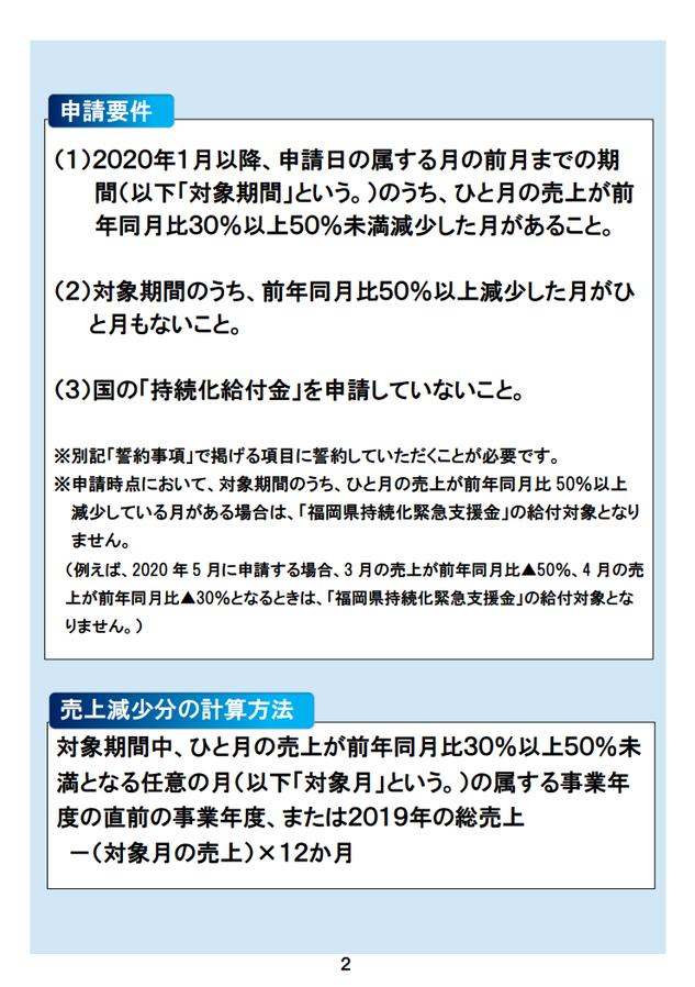 福岡県中小企業緊急支援金:申請要件・売上減少分の計算方法