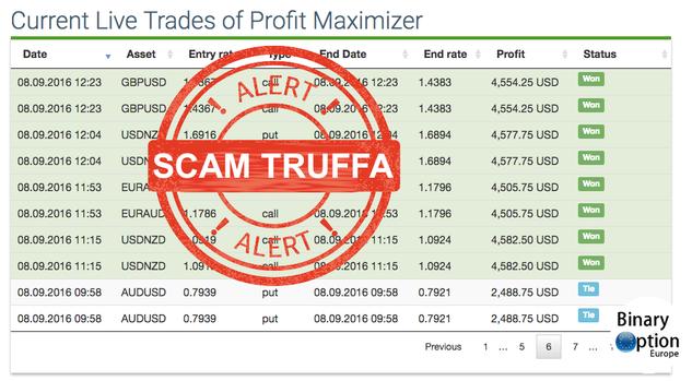 operazioni profit maximizer truffa false