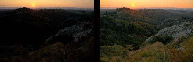 Crete Senesi al tramonto; in raw e dopo veloce passaggio in post-produzione