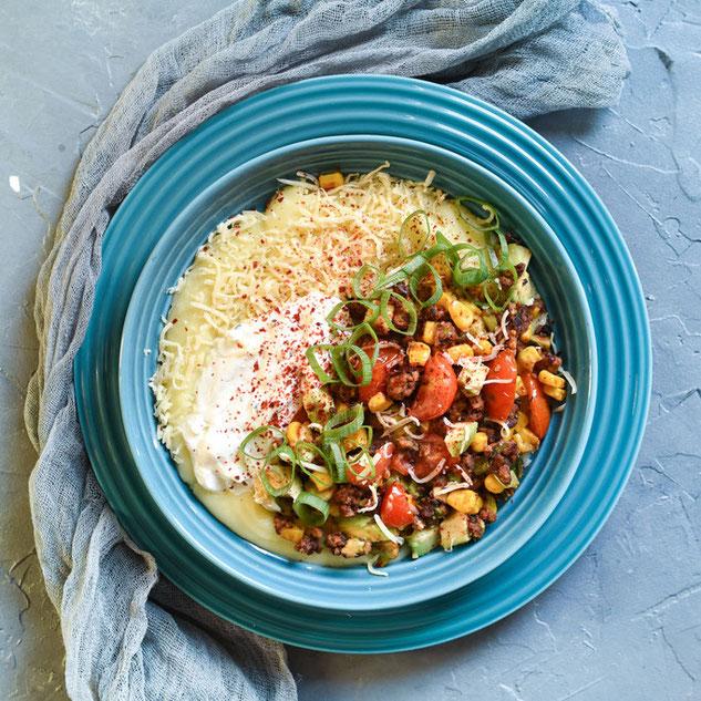 """Kartoffelstampf """"Fiesta Mexicana"""" kombiniert Kartoffelpüree und Tex Mex Küche, vegetarisch, vegan machbar, Thermomix"""