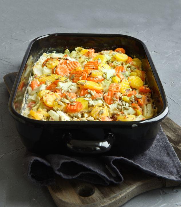 Kohlrabi Möhren Ofengemüse mit Schmand