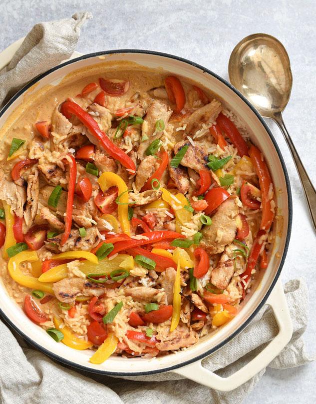 Reistopf Paprika Geschnetzeltes, vegetarisch, vegan möglich, Thermomix, Mittagessen