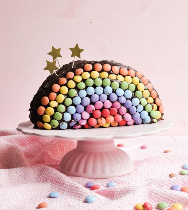 Regenbogen Geburtstagskuchen einfach zu machen, vegan möglich, Thermomix