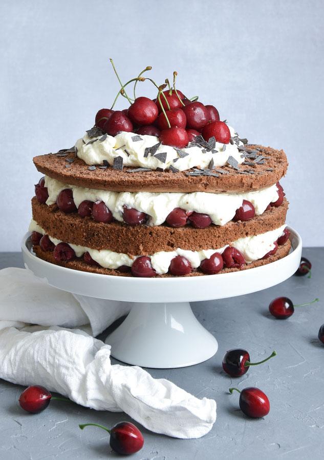 Schwarzwälder Kirsch als Naked Cake, vegan möglich, Thermomix