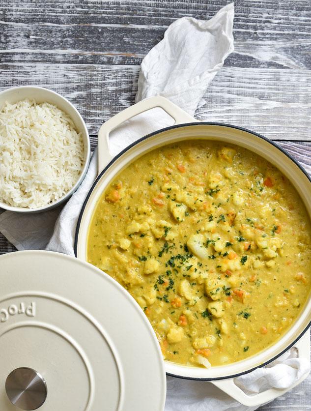 Blumenkohl Curry mit Linsen, vegetarisch, vegan, Mittagessen mit Hülsenfrüchten, Thermomix
